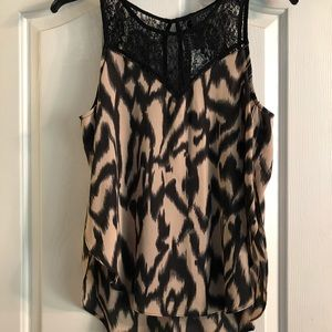 NWT Nordstrom ASTR Blush-Black Lace Top
